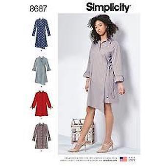 بساطة أنماط الخياطة 8687 يفتقد قميص اللباس حجم 10-18