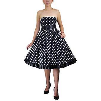 Chic Star Plus Size Bowknot Ruffled Dress En Polka-dot / Negro