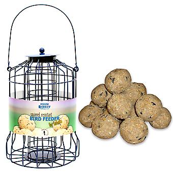 1 x Simply Direct Squirrel Guard Hanging Fat Ball Feeder with Bag of 10 Suet Fat Balls Feed for Wild Garden Birds