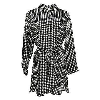 Susan Graver Women's Petite Top Button-Front w/ Belt Black A383162