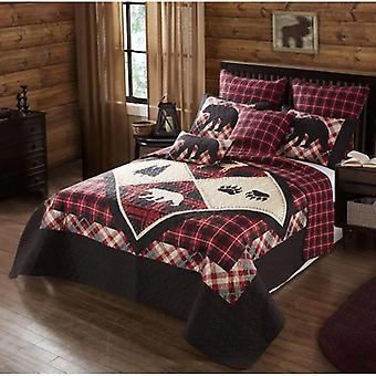 Spura Home Pictorial Diamond Bear Lodge Print Modern Quilt Set