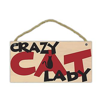 "Sign, Wood, Crazy Cat Lady, 10"" X 5"""
