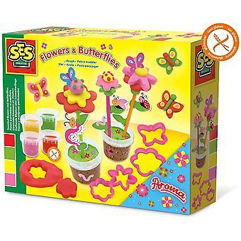 SES CREATIVE Aroma Glitter Modelling Dough Flower and Butterflies Set - 4 Pots