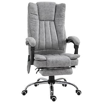 Vinsetto 6-point Vibrating Heat Massage Chair Micro Fiber Upholstery w/ Manual Footrest Padding High Back Remote Wheels Swivel Chair Reclining Grey