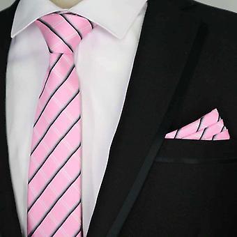 Vaaleanpunainen tartaani kuvio Essentials tie & Pocket neliön setti
