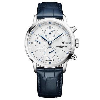 Baume & Mercier M0a10330 Classima hopea ja sininen nahka kronografi automaattinen miesten kello