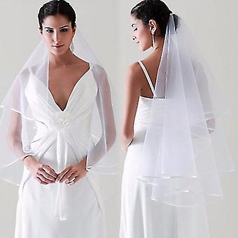 Simple Tulle Wedding Veils, Ribbon Edge Bridal Veil