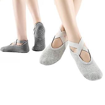 Yoga Socks For Women Non Slip Socks For Yoga Pilates 2 Pairs(Light Gray Dark Gray)