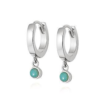Daisy Amazonite Healing Huggie Hoops Sterling Silver Earrings HE3003_SLV