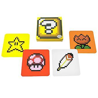 Super Mario, 4x Glasunderlägg - Power-Ups