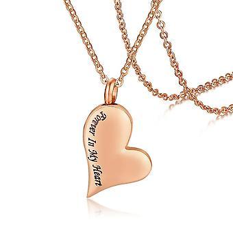 (oro rosa)  Memorial Mujeres de acero inoxidable Melocotón Corazón Urna Colgante Abraable Cenizas Collar