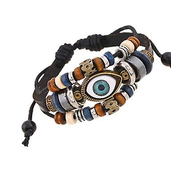 3 Layered Fashion Charm Adjustable Faux Leather Wooden Eye Beaded Bracelet Black
