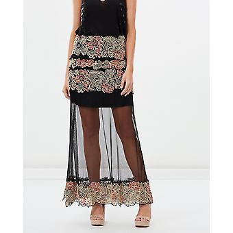 Spanish Carnation Embroidered Maxi Skirt
