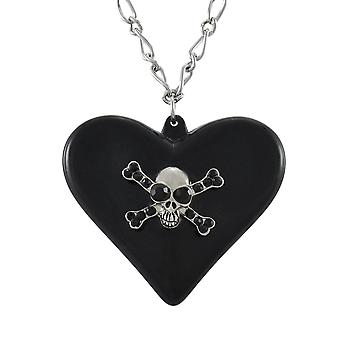 Gothic Poison Heart Skull Pendant w/ Silvertone Necklace