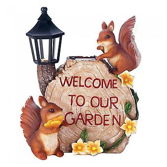 Summerfield Terrace Solar Welcome to Our Garden with Squirrels, Pack of 1
