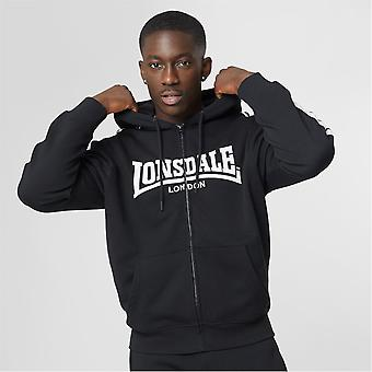 Lonsdale Hommes 2 Stripe Zip Hoodie Hooded Neck Manches Longues Casual Sports Top