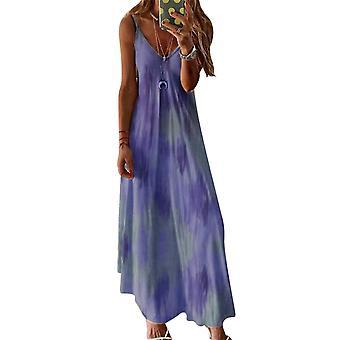 Mile Women Tie-dye Print Sleeveless Dress Casual Round Neck Rainbow Short Dress