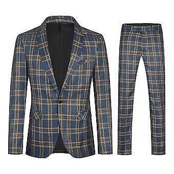 Costume et pantalon deux pièces Plaid à un seins de Yunyun