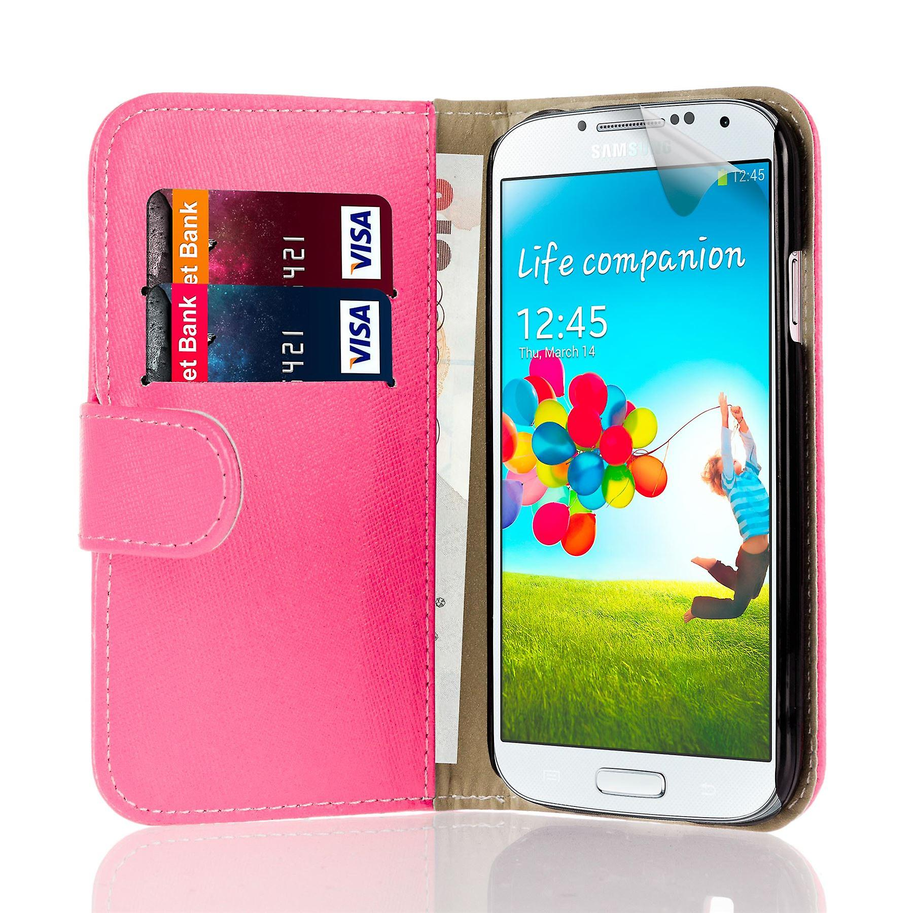 Book wallet case + stylus for Samsung Galaxy S4 Active i9295 - Hot Pink