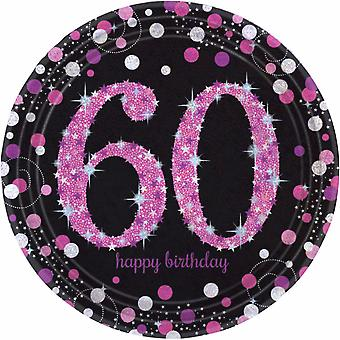 Amscan Sparkling Pink Celebration 60th Birthday Party Plates (Pack of 8)