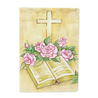 Easter Cross and Bible with Roses Flag Canvas House Size