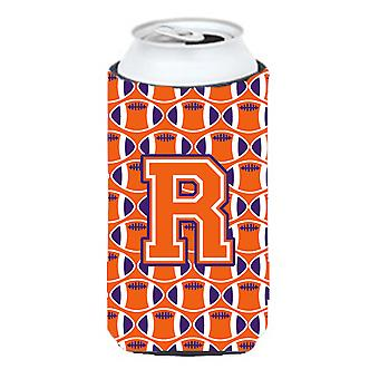 Letter R Football Orange, White and Regalia Tall Boy Beverage Insulator Hugger