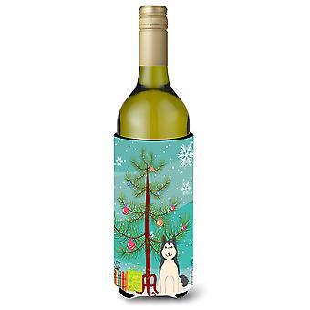 Merry Christmas Tree West Siberian Laika Spitz Wine Bottle Beverge Insulator Hug