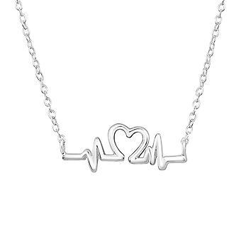 نبضات القلب - 925 قلادات الفضة الاسترليني عادي - W32255x