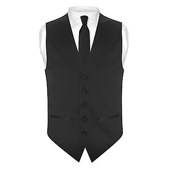 "Mens SLIM FIT Dress Vest Skinny NeckTie 2.5"" Neck Tie Hanky Set"
