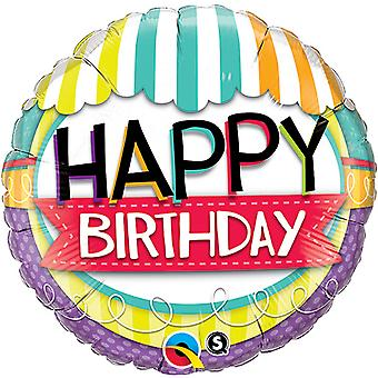 Qualatex 18 Inch ronde Happy Birthday gestreepte luifel Design folie ballon