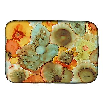 Carolines Treasures  8959DDM Abstract Flowers Teal and orange Dish Drying Mat
