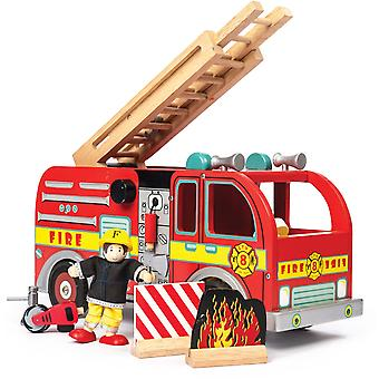 Le Toy Van Traditional Toys Fire Engine Set with Firefighter