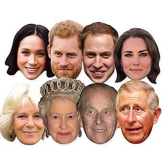 Royal Wedding 2018 Fancy Dress Masks - Royal Family 8 Pack inc Harry & Meghan
