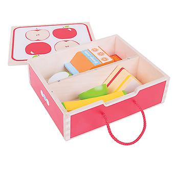 Bigjigs Toys Wooden Play Food Lunch Box Toy Play Set Pretend Kitchen