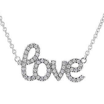ESPRIT women's chain necklace silver cubic zirconia lucky love ESNL92421A400