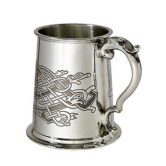 Celtic păsări model Pewter Tankard-1 halbă