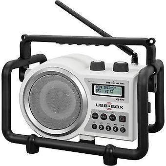 PerfectPro USB Box 2 arbetsplats radio FM AUX, SD, USB stänksäker, dammtät, stötsäker vit