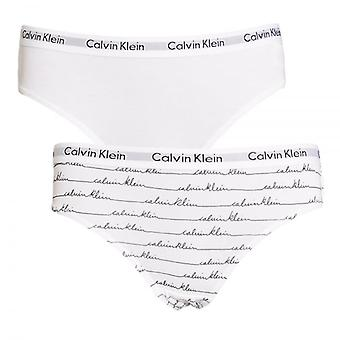 Calvin Klein Girls 2 Pack Modern Cotton Bikini Brief, Scripted Logo White / White, Large