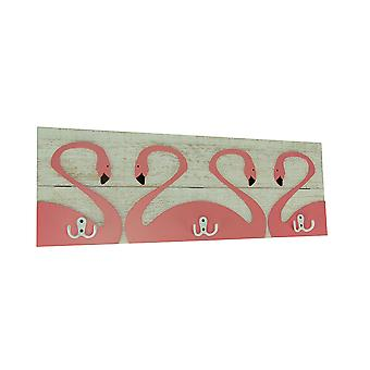 Weathered White Wood Pink Flamingo Wall Hook Plaque
