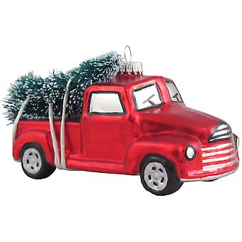 Vintage Look Pickup Truck Hauling Tree Christmas Holiday Ornament Glass