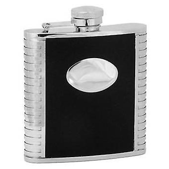 David Van Hagen 3oz Stainless Steel Hip Flask with Imitation Leather and Engraving Plate - Black/Silver