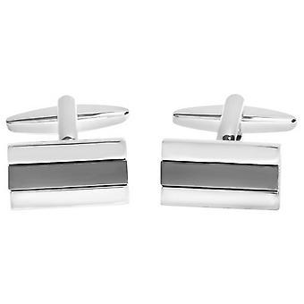 David Van Hagen Shiny Rectangle Shiny Gunmetal Centre Stripe Cufflinks - Silver/Grey
