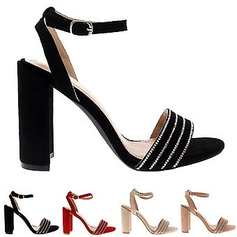 Womens High Heel Ankle Strap Diamante Detailed Suede Sandal Wedding Shoes UK 3-8