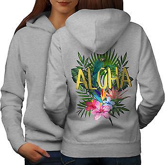 Hawaii Aloha Parrot Women GreyHoodie Back | Wellcoda