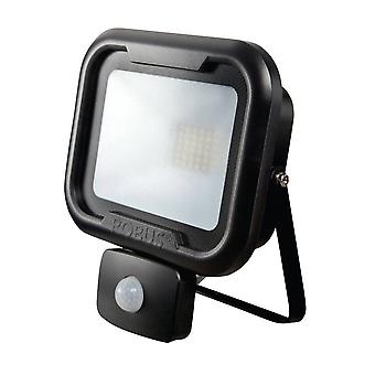 LED Robus Remy 10W Cool White Black LED Flood Light With PIR