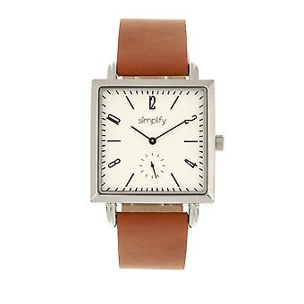 Simplify The 5000 Leather-Band Watch - Brown/White