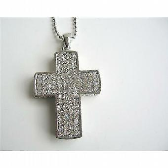 Cubic Zircon Cross Pendant Silver Cross Pendant HipHop Necklace