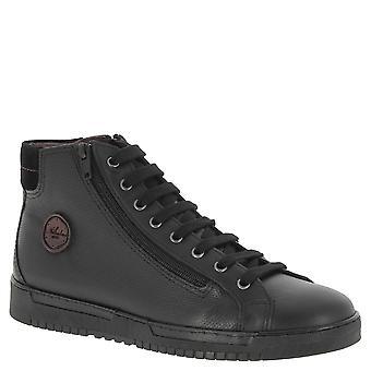 Nikolas men hi tops sneakers in black Calf leather with suede ankle