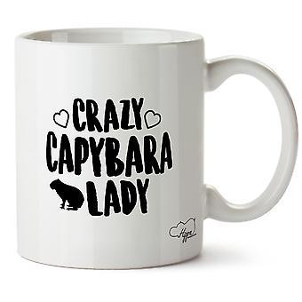 Hippowarehouse Crazy Capybara Lady Printed Mug Cup Ceramic 10oz