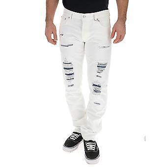 Alexander Mcqueen 550911qmz790900 Men's Jeans de mezclilla blancas